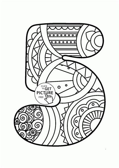 Number 5 Coloring Pages For Toddlers by Pattern Number 5 Coloring Pages For Counting Numbers