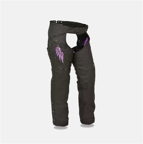 textile chaps for motorcycle w purple embroidery