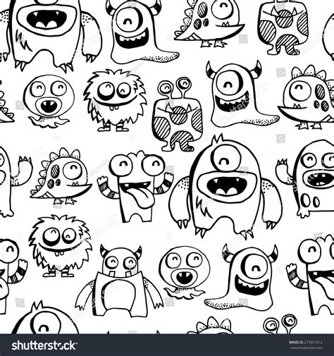 doodle monsters vector free vector illustration silly doodle stock vector