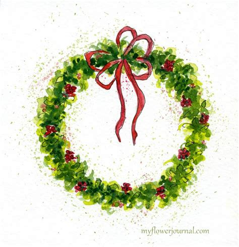how to paint how to paint a watercolor christmas wreath my flower journal