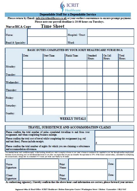 Home Health Care Timesheet Template