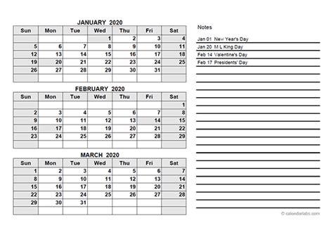 quarterly calendar   printable templates