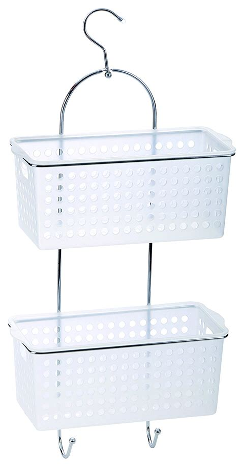 2 Tier Plastic Chrome Hanging Bathroom Organiser Shower Bathroom Storage Caddy