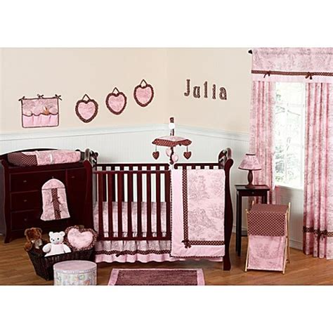 Pink Brown Crib Bedding Sweet Jojo Designs Toile And Polka Dot Crib Bedding Collection In Pink Brown Buybuy Baby