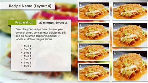 Recipe Layouts Ppt Template Slide Ocean Powerpoint Recipe Template