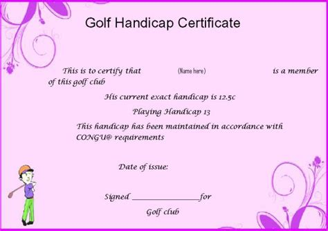 golf handicap certificate template adorable golf certificates for professional players free