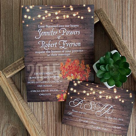 cheap rustic wooden string light jar fall wedding invites ewi395 as low as 0 94