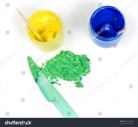 blue and yellow make blue yellow jars paint mixed make stock photo 37042849