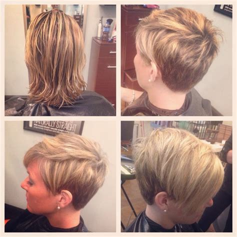blonde foils pixe cut short hair pixie cut under cut blonde highlights