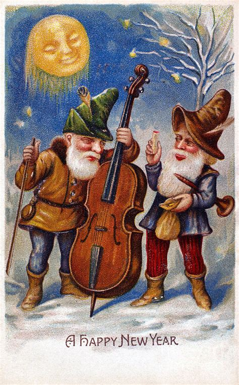 american new years card photograph by granger