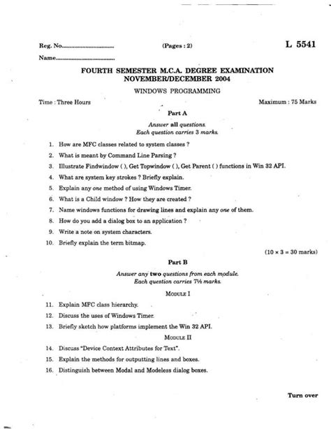 compiler design previous question paper sixth semester b calicut university first semester mca previous question