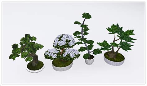 empire sims 3 3 small potted plants by lisen801 mod the sims bonsai set updated for wa