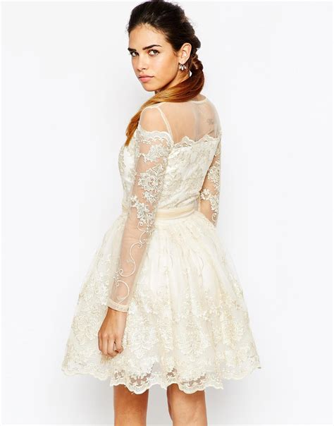 Mesh Mix Skater Dress W8741 White chi chi sleeve premium lace mini prom skater
