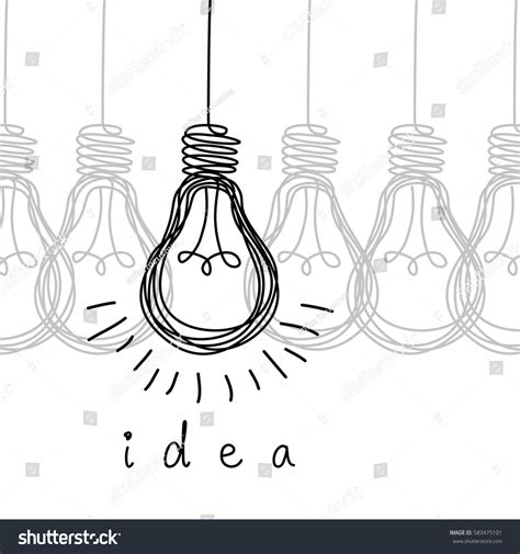 doodle or sign up genius vector light bulb icons concept idea stock vector