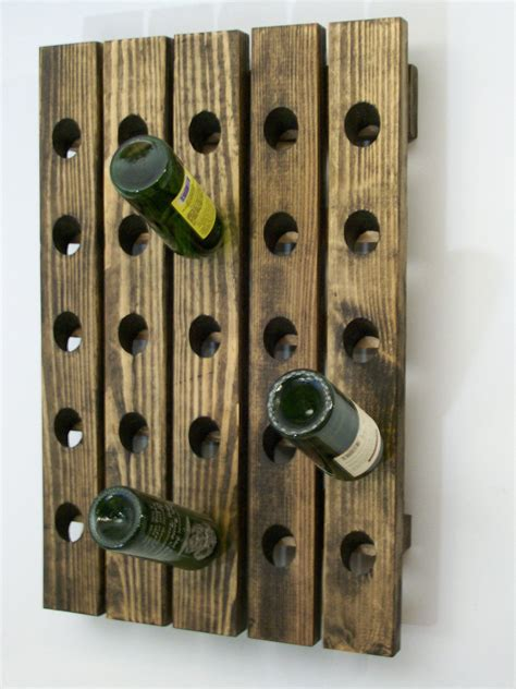 Handcrafted Wall - riddling wine rack handcrafted wood wall hanging