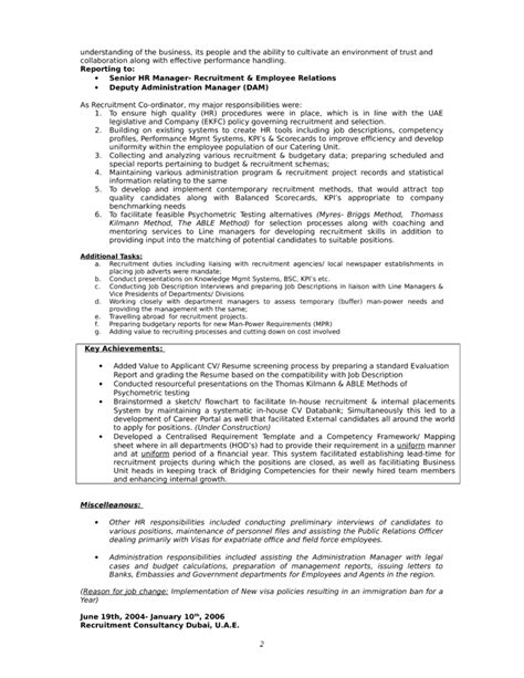 Resume Format For Hr Consultant Chronological Hr Consultant Resume Template Page 2