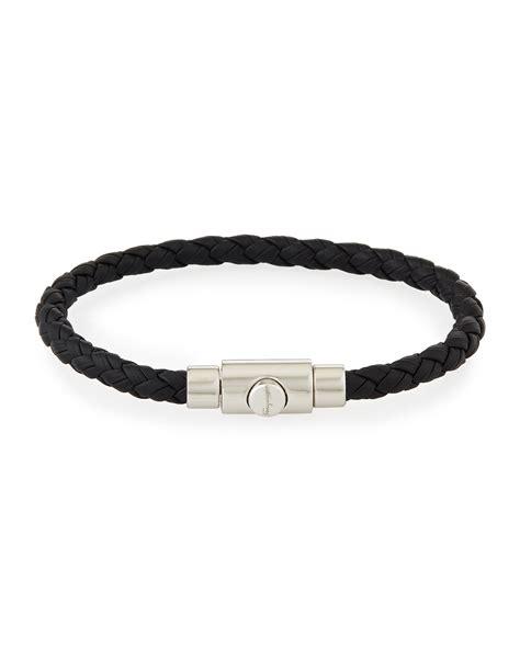 Leather Bracelet Black lyst ferragamo s braided leather bracelet in black