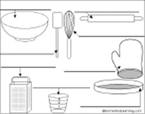 Enchantedlearning Kitchen List Label The Kitchen Utensils In Printout