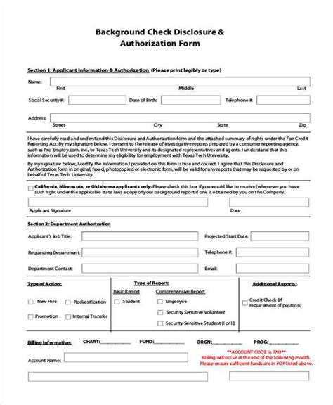 Best Background Search Credit Check Release Form Background Check Authorization Form 5 Printable Sles