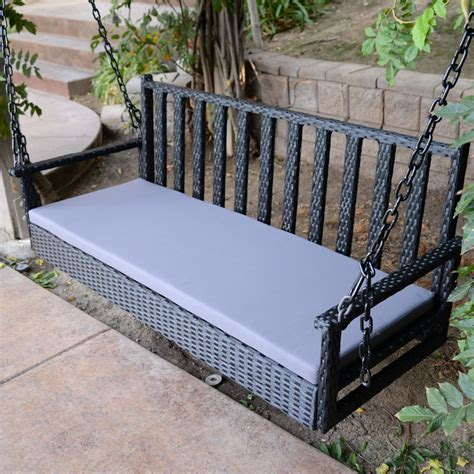 hanging bench swing black 60 5 quot patio porch swing chair bench resin wicker