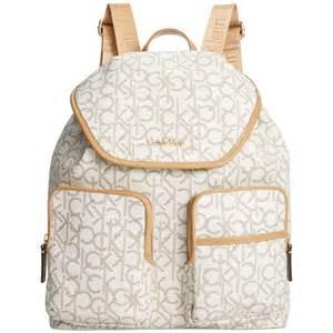 Urban Style Backpacks - calvin klein hudson monogram backpack in white almond khaki camel lyst