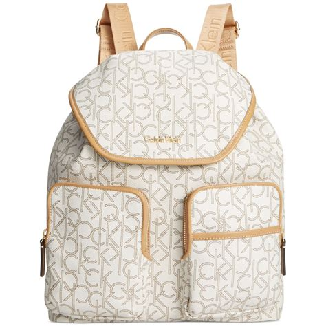 lyst calvin klein hudson monogram backpack  white