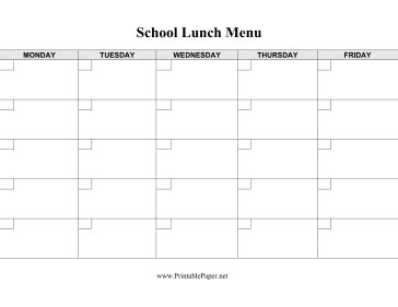 lunch calendar template printable school lunch menu template