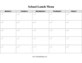 Free School Lunch Menu Templates by Printable School Lunch Menu Template