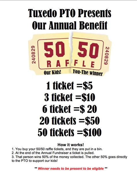 50 50 raffle fundraiser flyer hla pinterest 50th