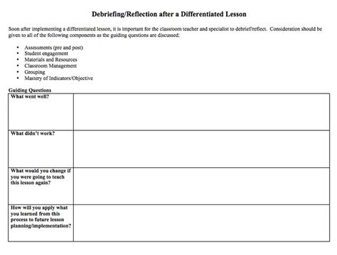 debriefing form template 17 best images about school lesson plan and newsletter