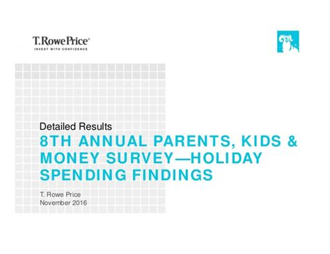 Money Surveys For Kids - t rowe price s 2016 parents kids money survey