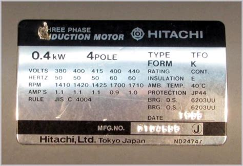 Hitachi Tfo Kk 15 Hp 3 Phase 4 Pole Elektro Motor Dinamo hitachi 3 phase induction motor type tfo form k 0 4kw 4 pole ebay
