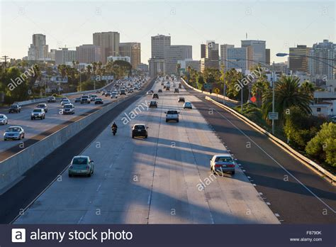 interstate 5 freeway cars skyline morning commute