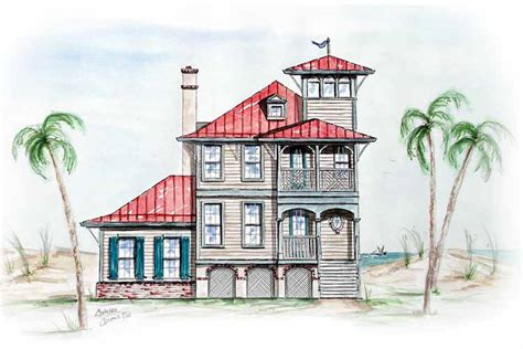 house plans with towers beach house with tower lookout 15725ge architectural