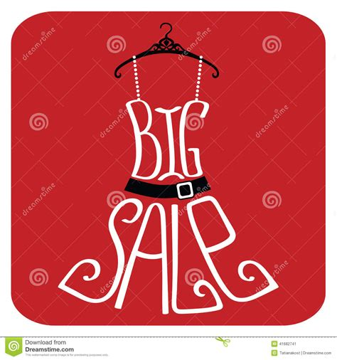 typography sles silhouette of dress from words big sale stock vector image 41682741