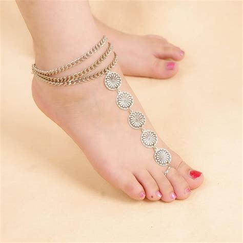 Anklet With Toe Ring silver toe ring anklet fizzexpress