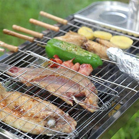 Bbq Vegetable Rack by Barbecue Grilling Basket Grill Bbq Net Wood Handle Steak