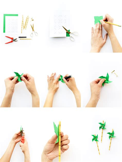 How To Make Paper Out Of Bamboo - diy palm tree pinwheel straws
