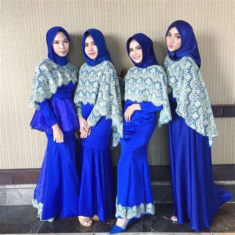 Kebaya Gaun Pengantin Modern Franchlace Biru Elektrik kebaya muslim kebaya muslim modern berbahan velvet warna