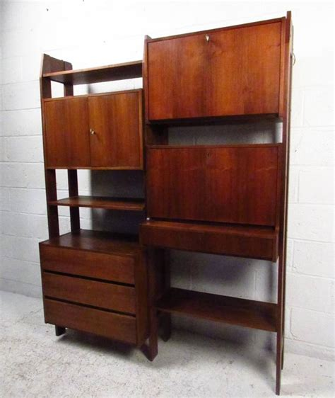 mid century wall unit with drop writing desk for sale