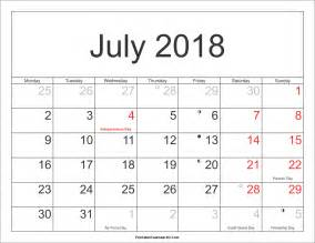 Calendar 2018 With Holidays Pdf July 2018 Calendar Printable With Holidays Pdf And Jpg