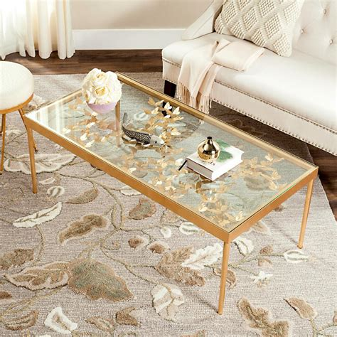 safavieh gold coffee table safavieh rosalia glass antique gold butterfly coffee table