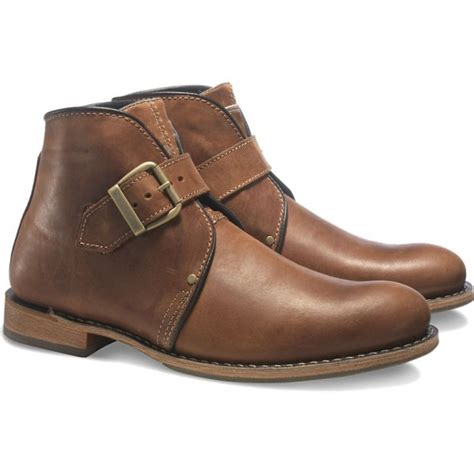 Handmade Leather Boots Uk - handmade mens brown monk leather ankle high boots