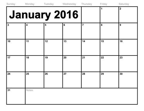 2016 Calendars Free January 2016 Calendar Printable Template 8 Templates