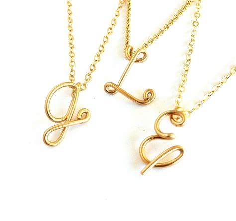 gold initial pendant custom gold initial necklace