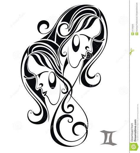 zodiac signs gemini tattoo design stock vector