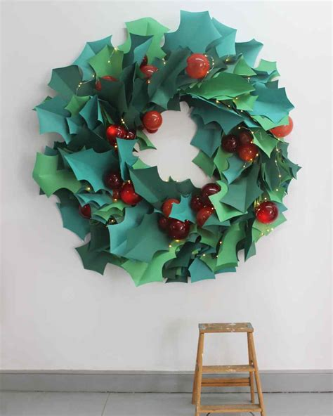 printable paper holly wreath paper christmas wreath wall art martha stewart