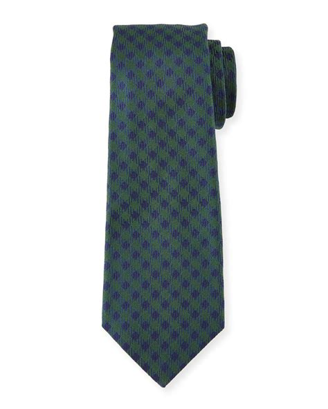 kiton woven check silk tie in green for lyst