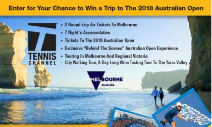 Tennis Channel Sweepstakes - tennis channel 2018 australian open trip giveaway sun sweeps