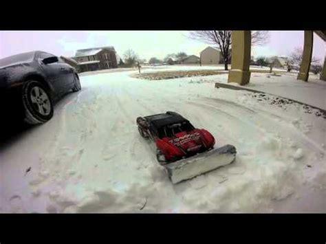 traxxas slash   snow plow youtube